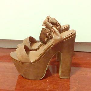 New Tan 6 inch Platform Heels